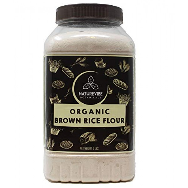 Naturevibe Botanicals Brown Rice Flour 2lbs | Gluten Free | Ri...