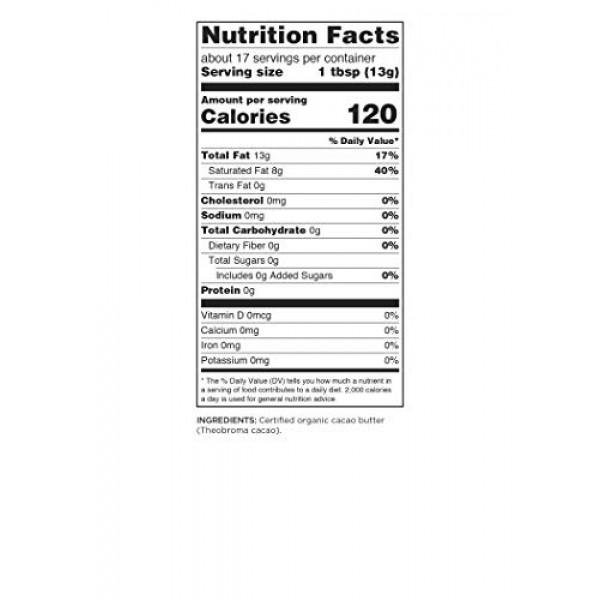 Navitas Organics Cacao Butter, 8oz. Bag - Organic, Non-GMO, Fair...
