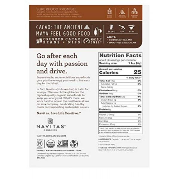 Navitas Organics Sweetened Cacao Nibs, 8oz. Bag - Organic, Non-G...