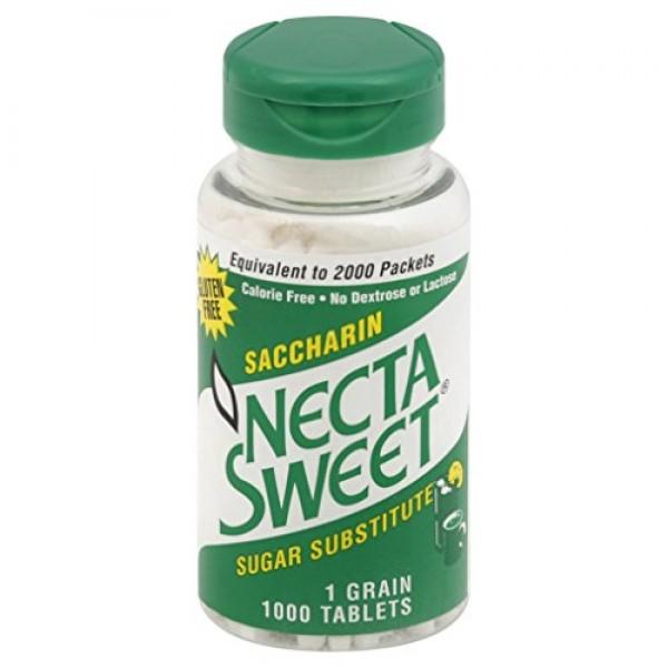 Necta Sweet Saccharin Tablets, 1 Grain, 1000 Tablet Bottle Pack...