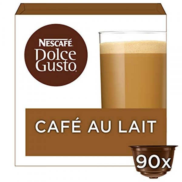 Nescaf? Dolce Gusto CAF? Au Lait Pack of 3, Total 48 Capsules