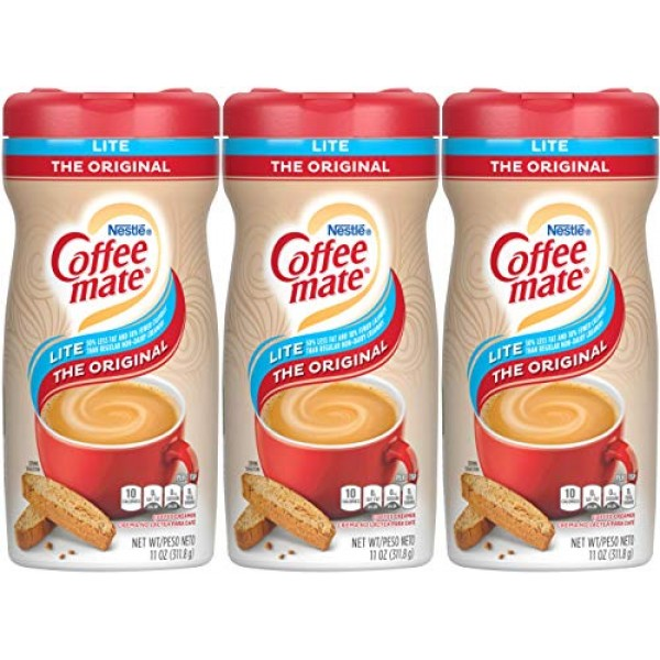 Coffee-mate Lite Powdered Creamer Canisters-Original, 11 oz, 3 pk