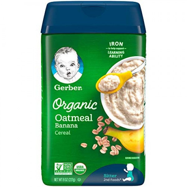 Gerber Baby Cereal Gerber Organic Oatmeal Cereal with Banana, 8 ...