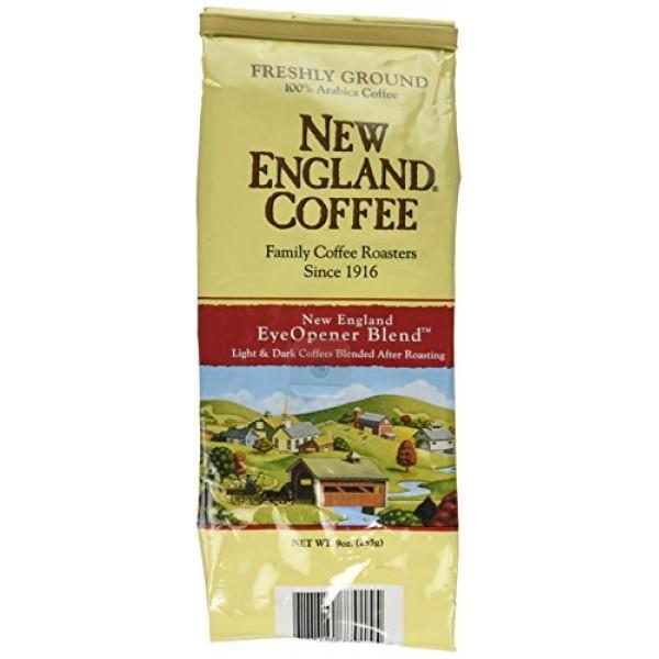 New England Coffee Eyeopener Coffee, Ground 9-ounce Bags Pack o...