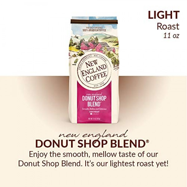 New England Coffee New England Donut Shop Blend, Light Roast Gro...