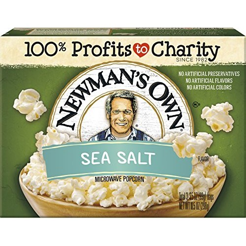 Newmans Own Microwave Popcorn, Sea Salt, 9.6-oz. Pack of 12