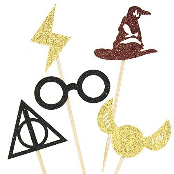 Newqueen 30 Pack Glitter Wizard Cupcake Toppers Harry P Inspired...