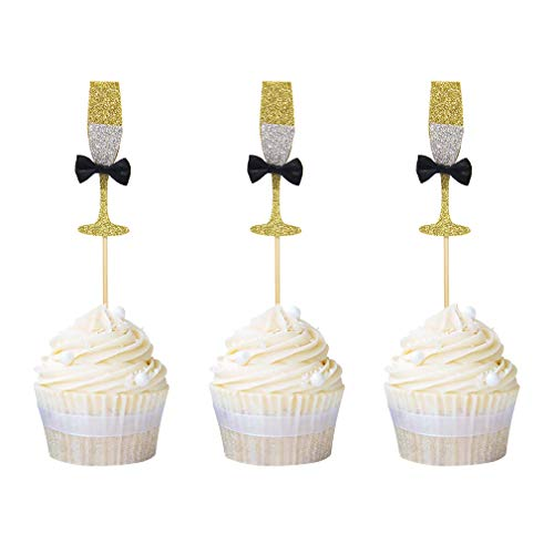 Newqueen 24 Pack Champagne Glasses Cupcake Toppers Gold Glitter ...