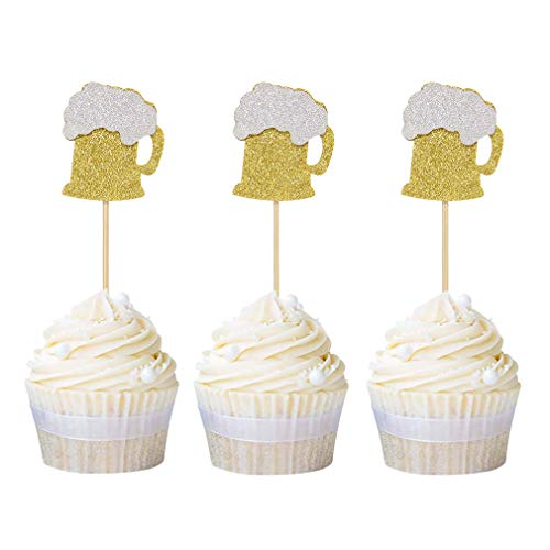 Newqueen 24 Pack Beer Mug Cupcake Toppers Gold Glitter Cupcake P...