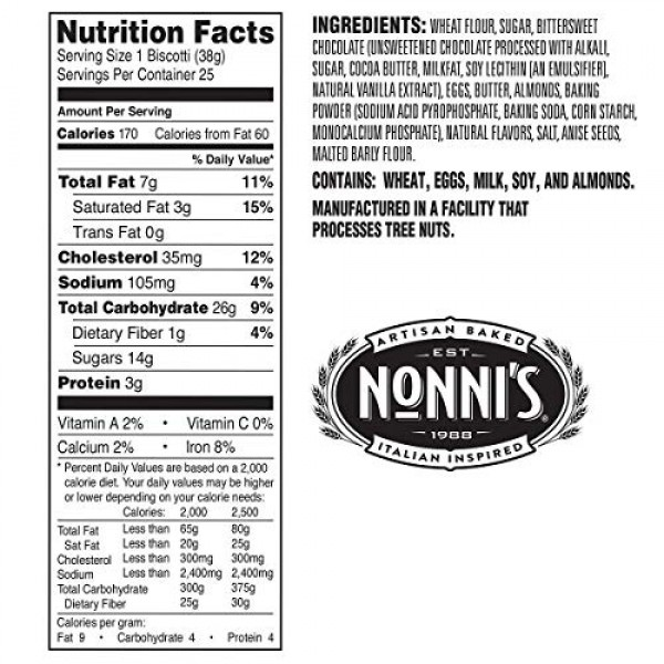 Nonnis Almond Dark Chocolate Biscotti With Real Almonds 25ct ...