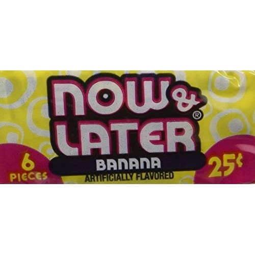 Now and Later Banana Flavored Candy 6 piece bars pack of 24