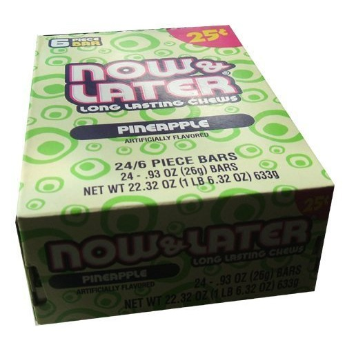 Now and Later Pineapple Flavored Candy Twenty Four 6-piece .93 o...