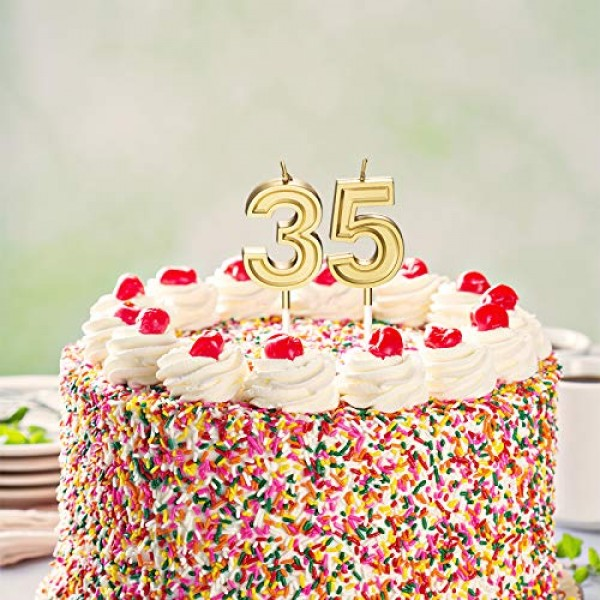 35th Birthday Candles Cake Numeral Candles Happy Birthday Cake C...