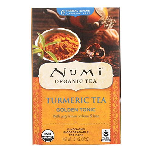 Numi Organic Tea Golden Tonic, 18 Count Box of Tea Bags, Turmeri...