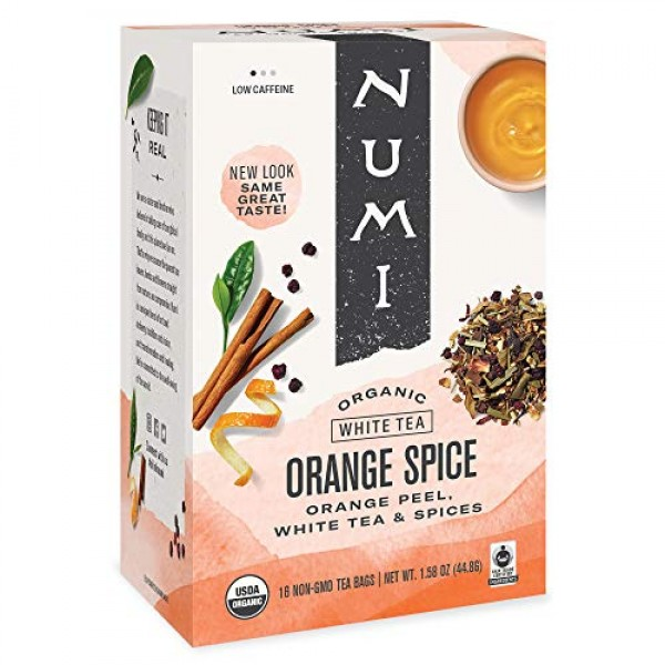 Numi Organic Tea Orange Spice, 16 Count Box of Tea Bags, White T...