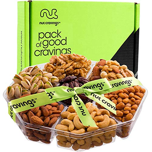 Holiday Nuts Gift Basket, Large 7-Sectional Delicious Variety Mi...