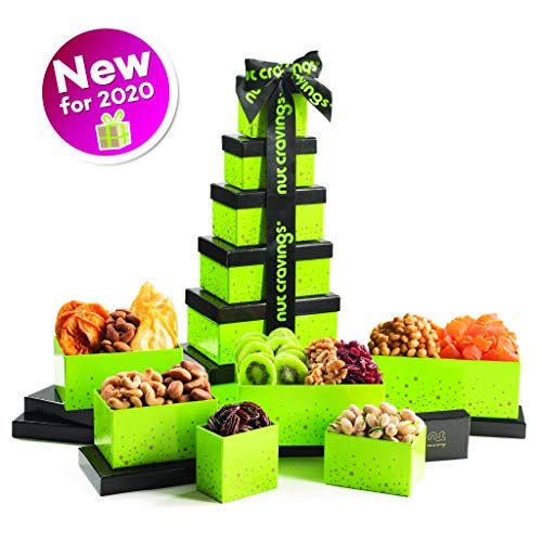 Holiday Nut and Fruit Gift Tower - Gourmet Mix of 12 Assorted Nu...
