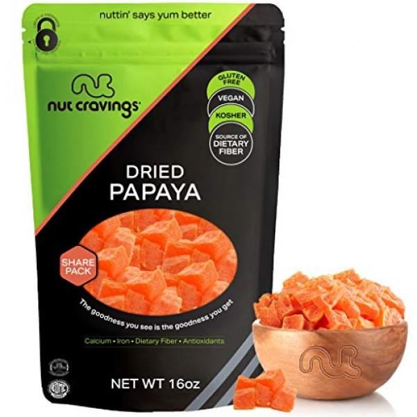 Sun Dried Papaya Chunks, with Sugar Added 16oz - 1 Pound Packe...