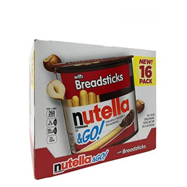 Nutella & Go Hazelnut Spread with Breadsticks 28.80 oz --16 Pack...