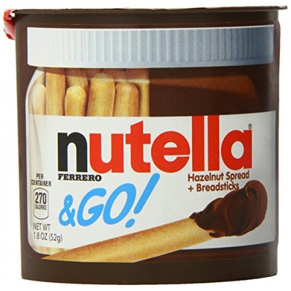 Nutella Ferrero Go Hazelnut Spread and Breadsticks, 12 packs- 22...