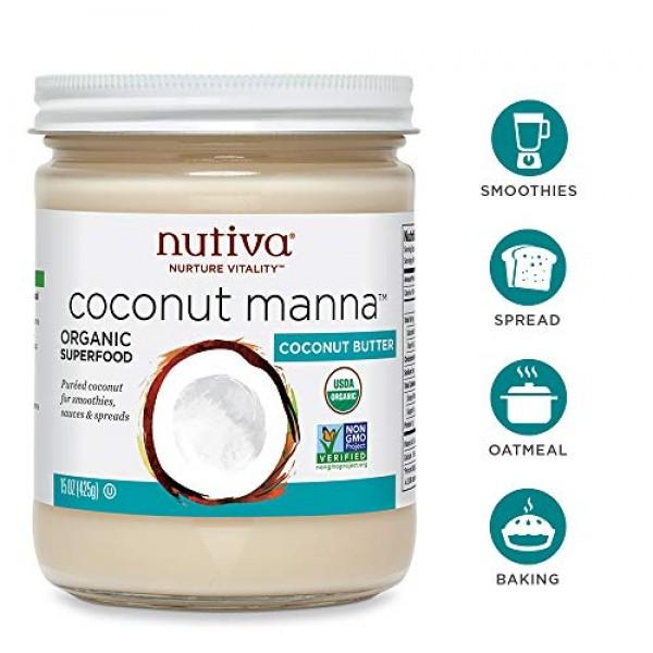 Nutiva Organic Coconut Manna Puréed Coconut Butter, 15 Ounce Pa...