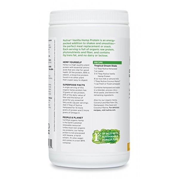 Nutiva Organic, Cold Processed Hemp Seed Protein, Vanilla, 16-ounce