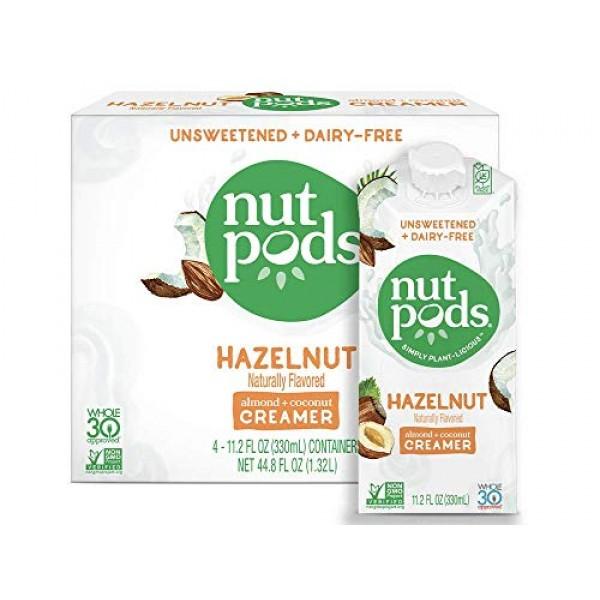 nutpods Hazelnut Dairy-Free Creamer 4-pack Unsweetened Whole30...