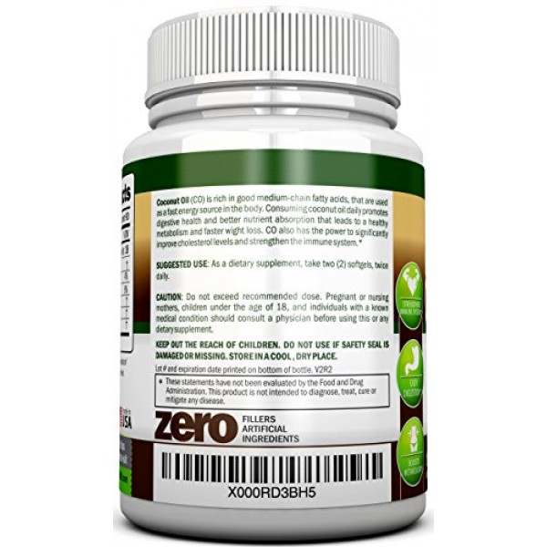 ORGANIC COCONUT OIL Capsules - 180 Softgels - 4000 MG Daily - Co...