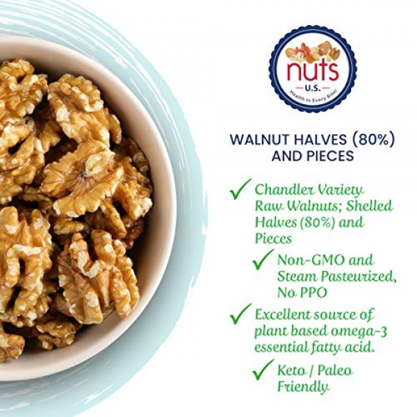 NUTS U.S. – California Walnuts   Shelled Halves 80% and Pieces...
