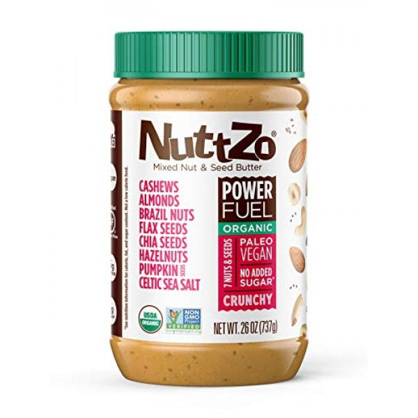 NuttZo Power Fuel Nut Butter, Crunchy, Organic, Seven Nuts & See...