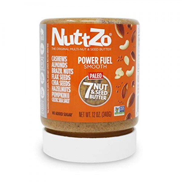 NuttZo Power Fuel Nut Butter, Smooth, Natural, Seven Nuts & Seed...