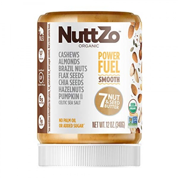NuttZo Power Fuel Nut Butter, Smooth, Organic, Seven Nuts & Seed...