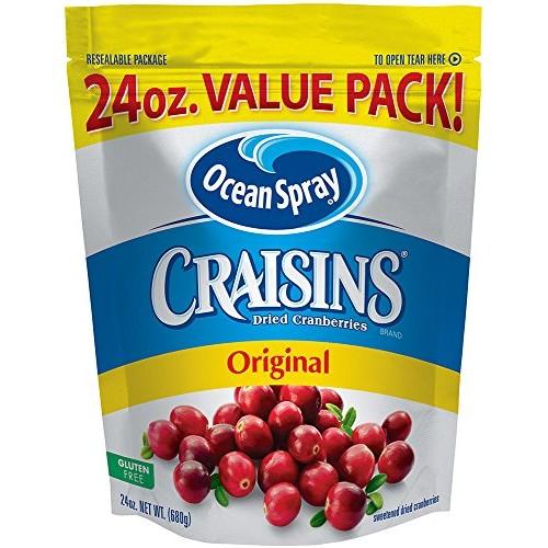 Ocean Spray Craisins Dried Cranberries, 24 Ounce Pack of 8