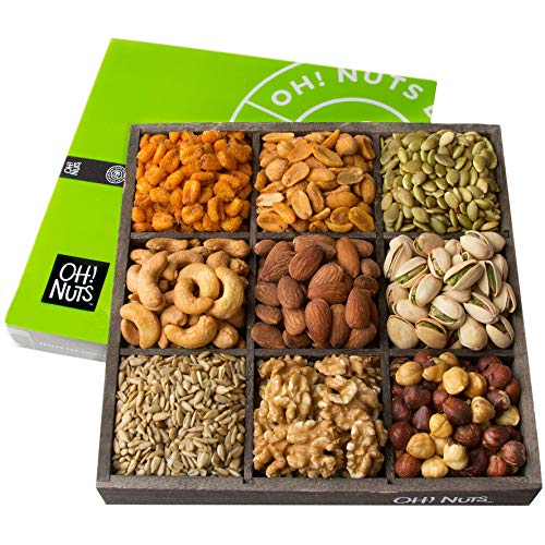 Oh! Nuts Holiday Nuts Gift Basket, 9 Variety Mixed Nut Assortmen...