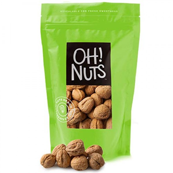 Oh! Nuts Raw Walnuts in Shell | Resealable 4-Lb. Bulk Bag for Ul...