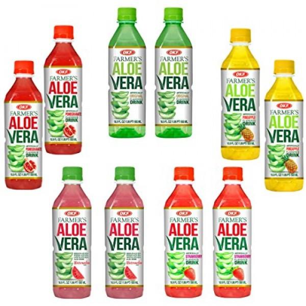 OKF Farmers Aloe Vera Drink Flavored Variety Pack - Original, P...