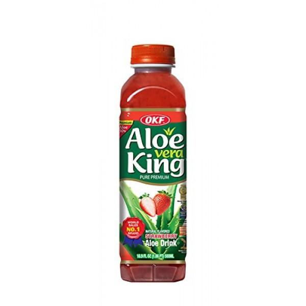 OKF Aloe Vera King Drink, Strawberry, 16.9 Fluid Ounce Pack of 20