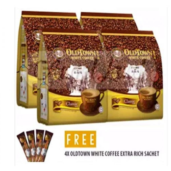 4 Pack Old Town White Coffee 3 in 1 Classic 60 Sticks Free 4...