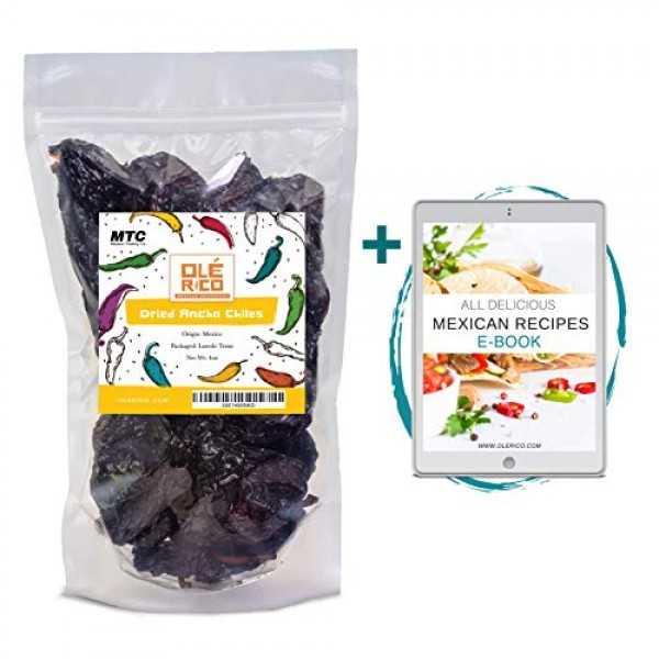 Dried Ancho Chiles Peppers 4.25 oz, Great For Sauce, Chili, Stew...