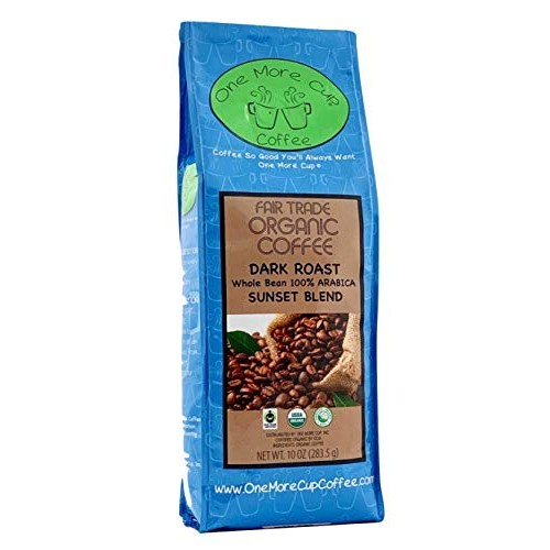 One More Cup Organic Fair Trade Sunset Blend Dark Roast Whole Be...