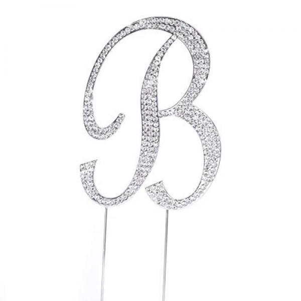 Large Rhinestone Silver Letter B Crystal Monogram Letter Cake To...