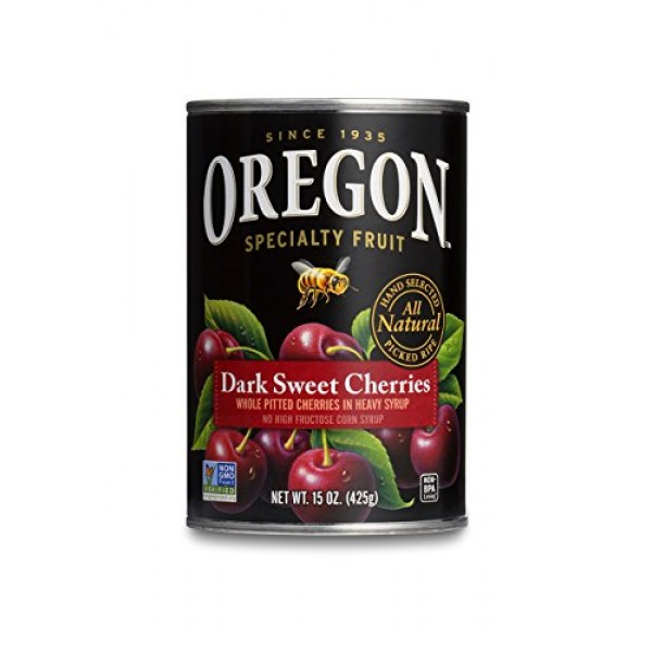 Oregon Fruit Pitted Dark Sweet Cherries in Heavy Syrup, 15-Ounce...