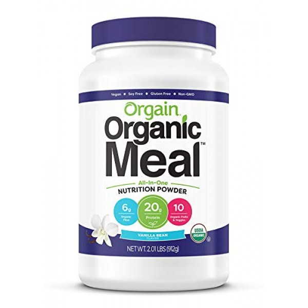 Orgain Organic Plant Based Meal Replacement Powder, Vanilla Bean...