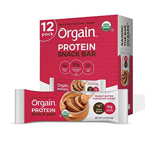 Orgain Organic Plant Based Protein Bar, Peanut Butter Chocolate ...