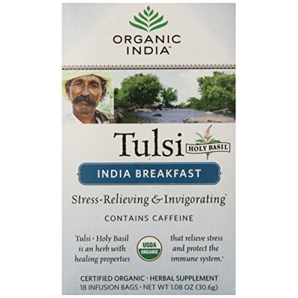 ORGANIC INDIA Tulsi India Breakfast Tea, 18 Count Pack of 6