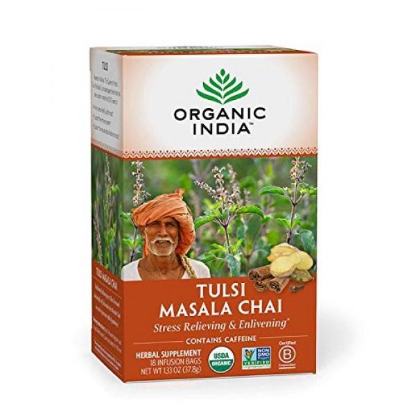 Organic India Tulsi Masala Chai Herbal Tea - Stress Relieving & ...