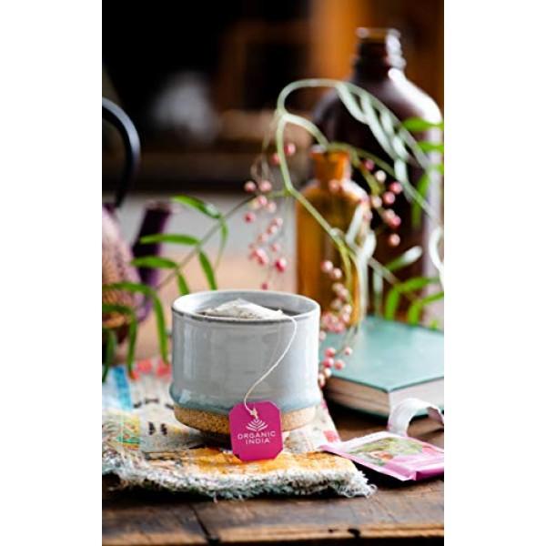 Organic India Tulsi Sweet Rose Herbal Tea - Stress Relieving & M...