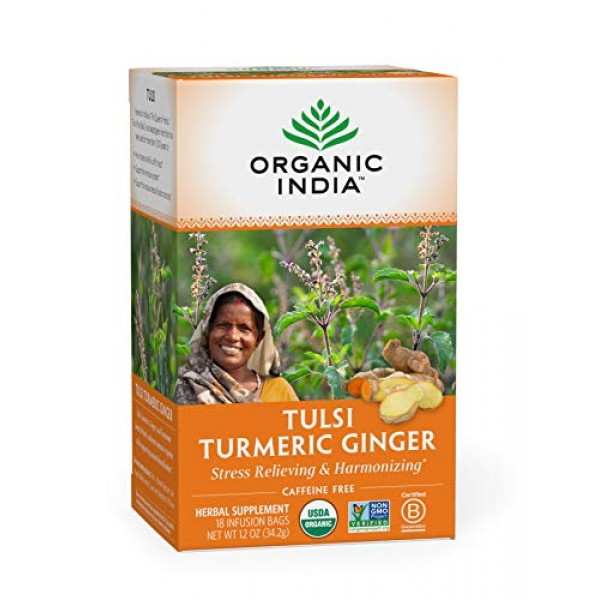 Organic India Tulsi Turmeric Ginger Herbal Tea - Stress Relievin...