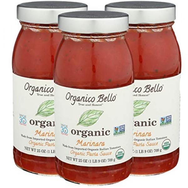 Organico Bello Pasta Sauce, Marinara, 25 Ounce Pack Of 3