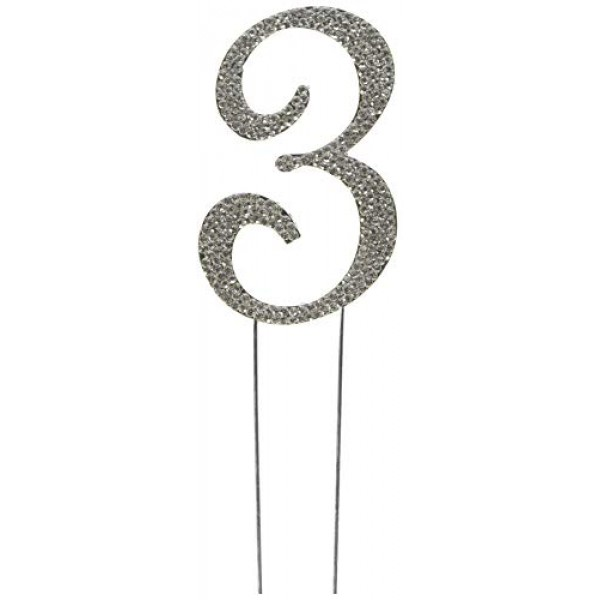 Rhinestone Cake Topper Number 3 by other